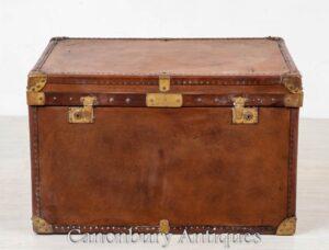 Custodia da viaggio in pelle vintage - Tavolino da viaggio Steamer Trunk