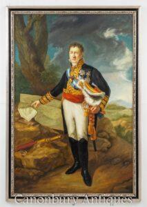 Dipinto ad olio inglese Duca di Wellington - Ritratto di arte militare