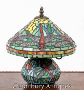 Lampada da tavolo Tiffany Art Nouveau - Libellula chiara in vetro colorato