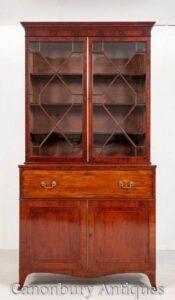 Libreria Regency Secretaire Desk in mogano antico