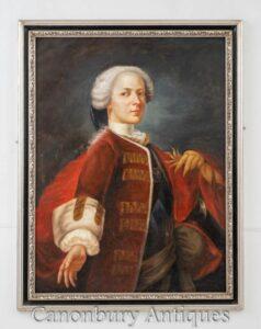 Pittura a olio georgiana - Ritratto Monarchia inglese del principe reggente
