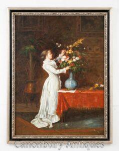 Ragazza vittoriana della pittura a olio del fiore organizza - ritratto floreale