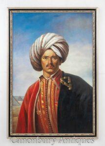 Ritratto del sultano vittoriano della pittura a olio - pittura maschile dell'Arabia