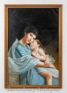 Ritratto di amore della madre e del bambino della pittura a olio francese