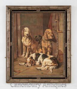 Ritratto di pittura a olio di caccia del cane - arte di caccia dello Spaniel inglese vittoriano