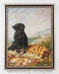 Scena della pittura a olio della caccia al cane - Retriever inglese e caccia alla lepre
