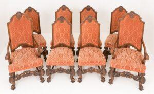 Set sedie da pranzo in rovere - Antiquariato intagliato in stile Carolean del 1870