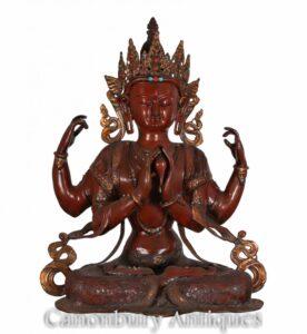 Statua di Buddha Amitabha intagliata a mano - Arte buddista nepalese con più armi