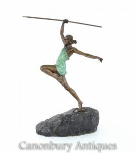 Statua di Diana l'Arciere in bronzo Art Déco di La Faguays