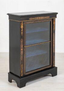 Victorian Pier Cabinet Display ebanizzato circa 1860