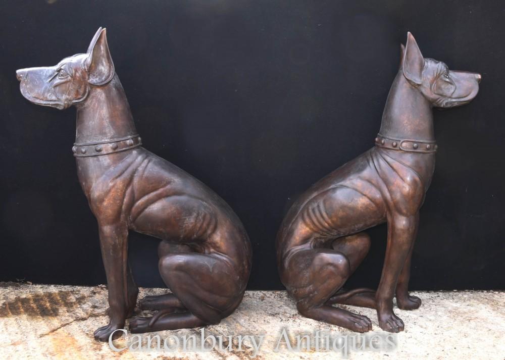 Coppia di guardiani del grande pugile in bronzo - Statua da giardino a grandezza naturale per pecorina