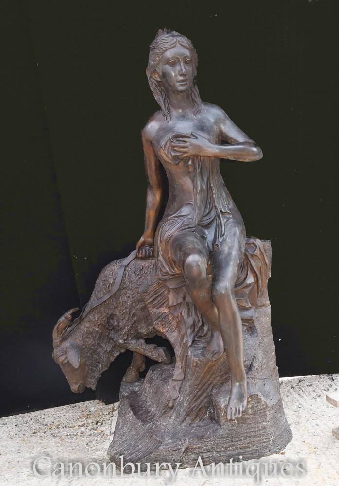 Grande statua in bronzo Diana e ariete - Dea classica da giardino Artemide