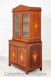 Libreria antica in mogano olandese - Mobile in vetro intarsiato con intarsio del 1860