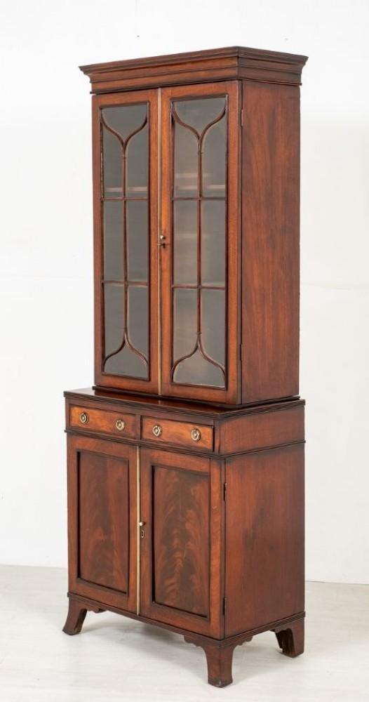 Libreria georgiana smaltata - Mobiletto antico in mogano del 1800