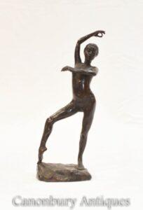 Ninfa Nuda Ballerina Statuetta in Bronzo Arte etrusca