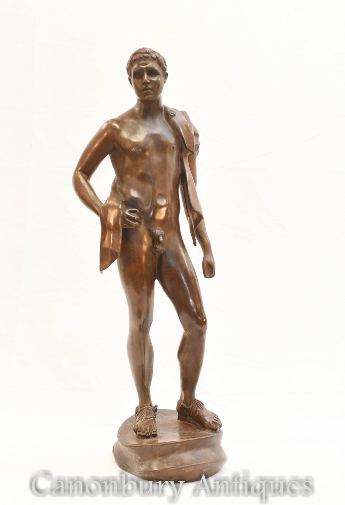 Statua del David nudo in bronzo - Statuetta classica