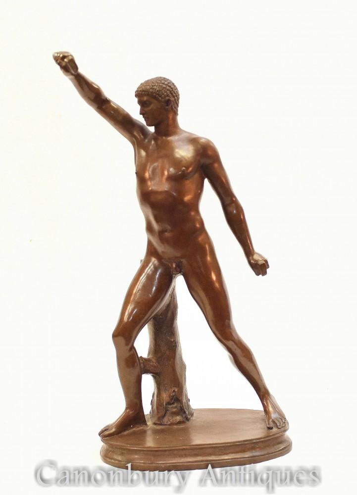 Statua di atleta romano classico in bronzo - Statuetta nuda del Grand Tour