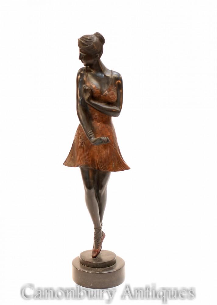 Statua di ballerina in bronzo Art Déco - Ballerina