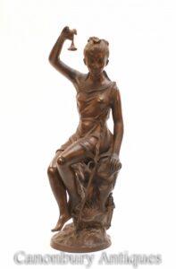Statua di fanciulla romana in bronzo italiano - statuetta femminile