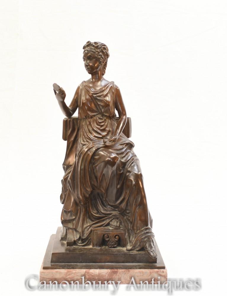 Statua in bronzo della fanciulla romana - Figurina classica rivestita di Toga