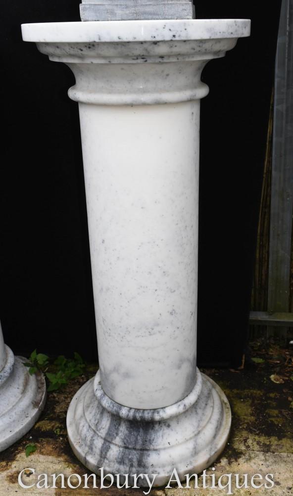 Colonna classica in marmo con piedistallo - Supporto per busto