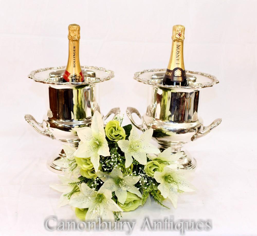 Coppia secchielli per ghiaccio in lastra d'argento Sheffield - Champagne Wine Cooler