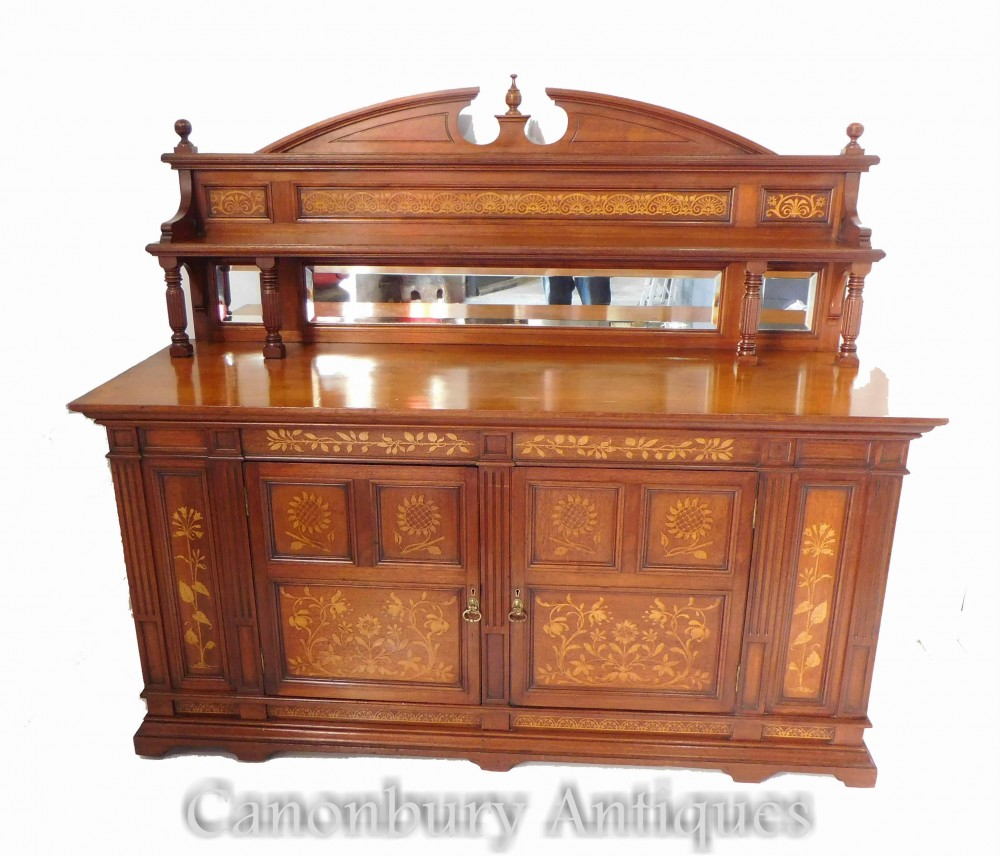 Credenza Arts and Crafts - Antico buffet edoardiano del 1900 circa
