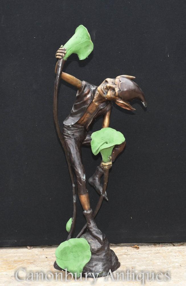Fontana dei Goblin in bronzo - Colata in giardino della statua di Pixie Fairey