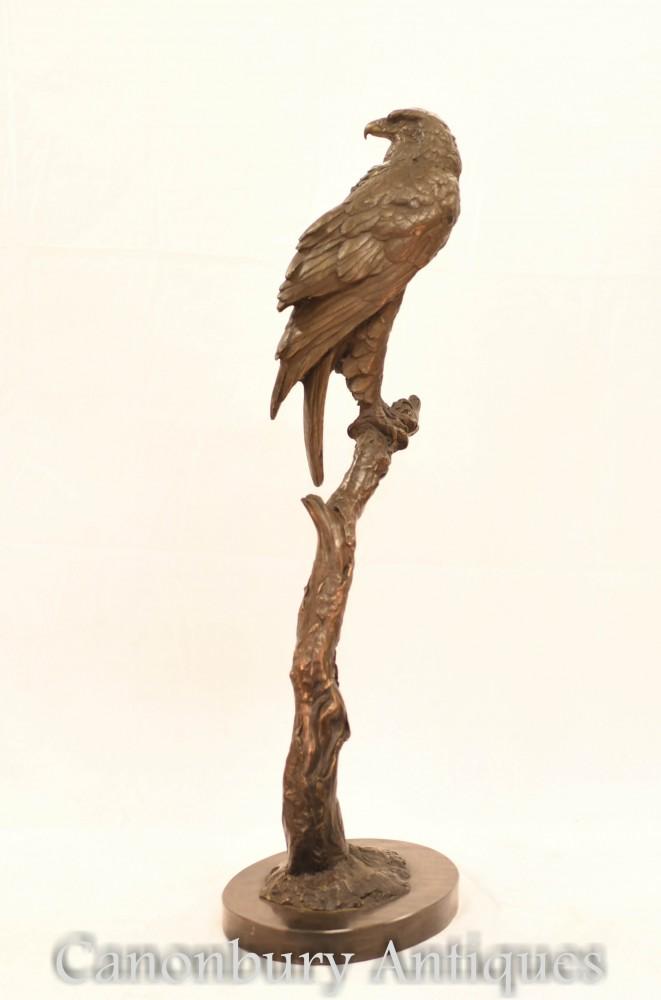 Grande statua in bronzo di aquila - Gheppio americano di rapaci