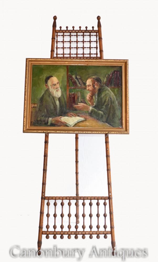 Pittura a olio ebreo e rabbino ritratto antico arte giudaica yiddish 1930