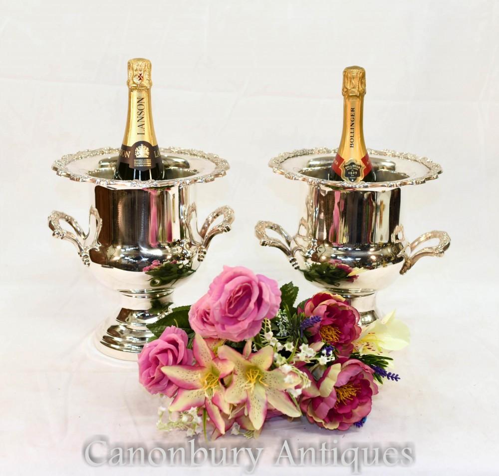 Secchielli per champagne in argento - Secchiello per vino vittoriano