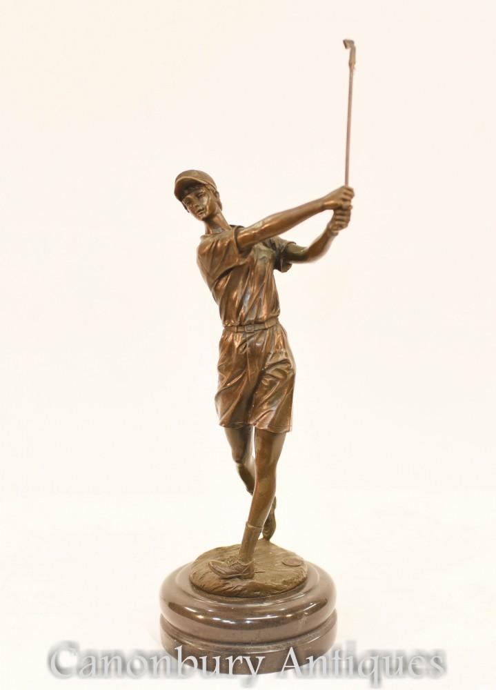 Statua di bronzo del golfista scozzese - Colata di golf