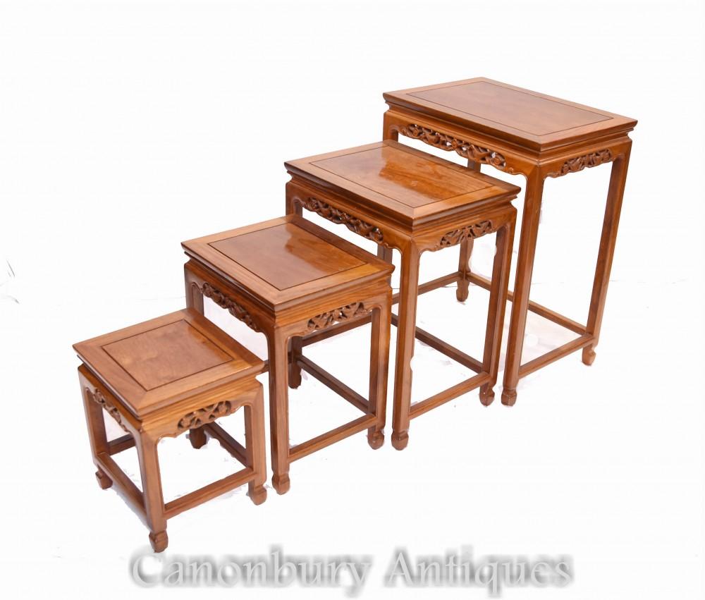Tavolini cinesi antichi a nido - quattro lati, 1930 circa