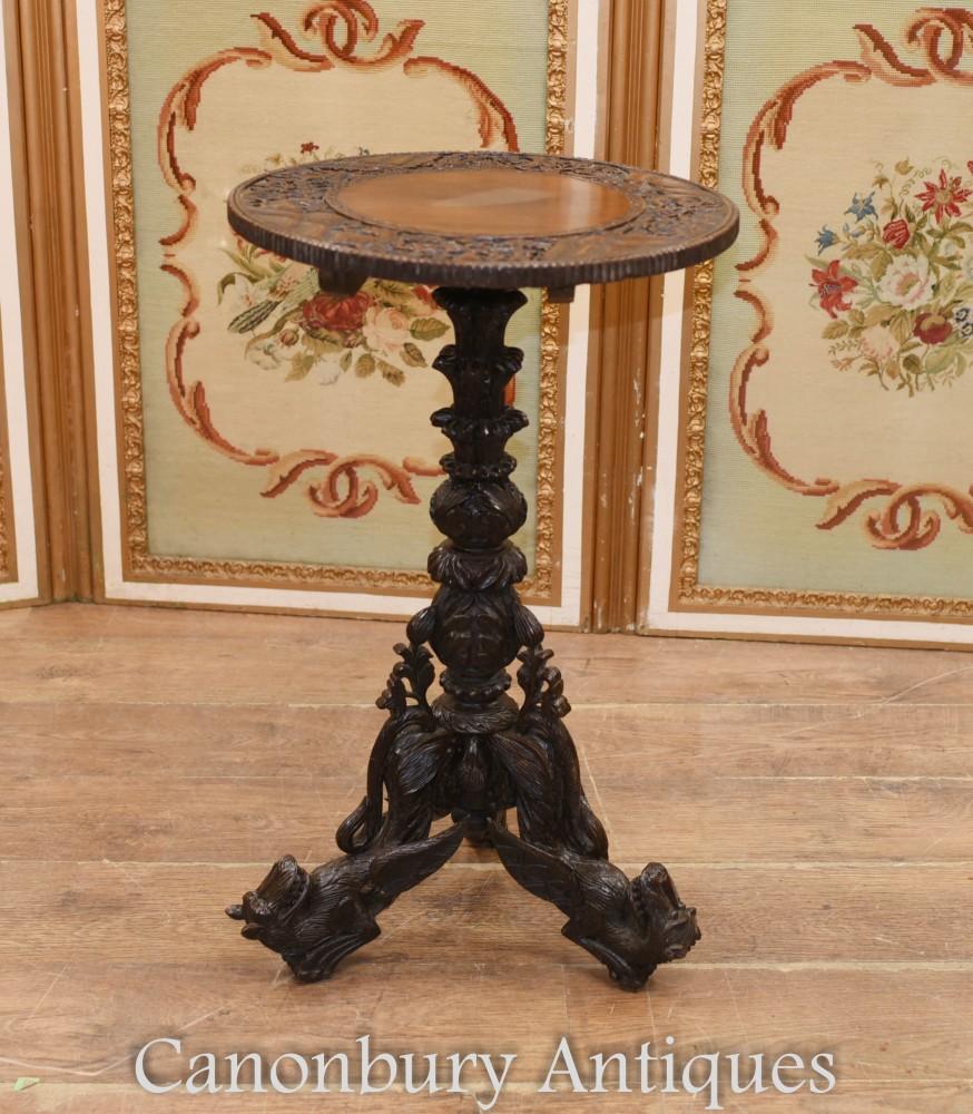 Tavolino birmano intagliato - Birmania antica 1890