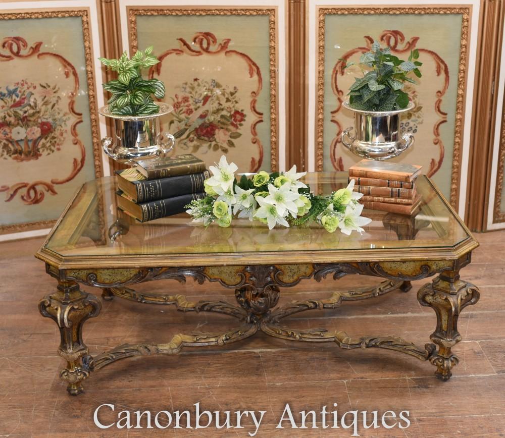Tavolino da caffè italiano intagliato - Interni barocchi