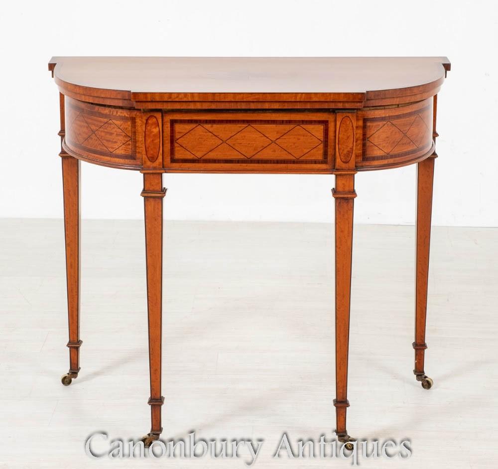 Tavolo da gioco Hepplewhite - Tavoli da gioco antichi in legno satinato del 1880