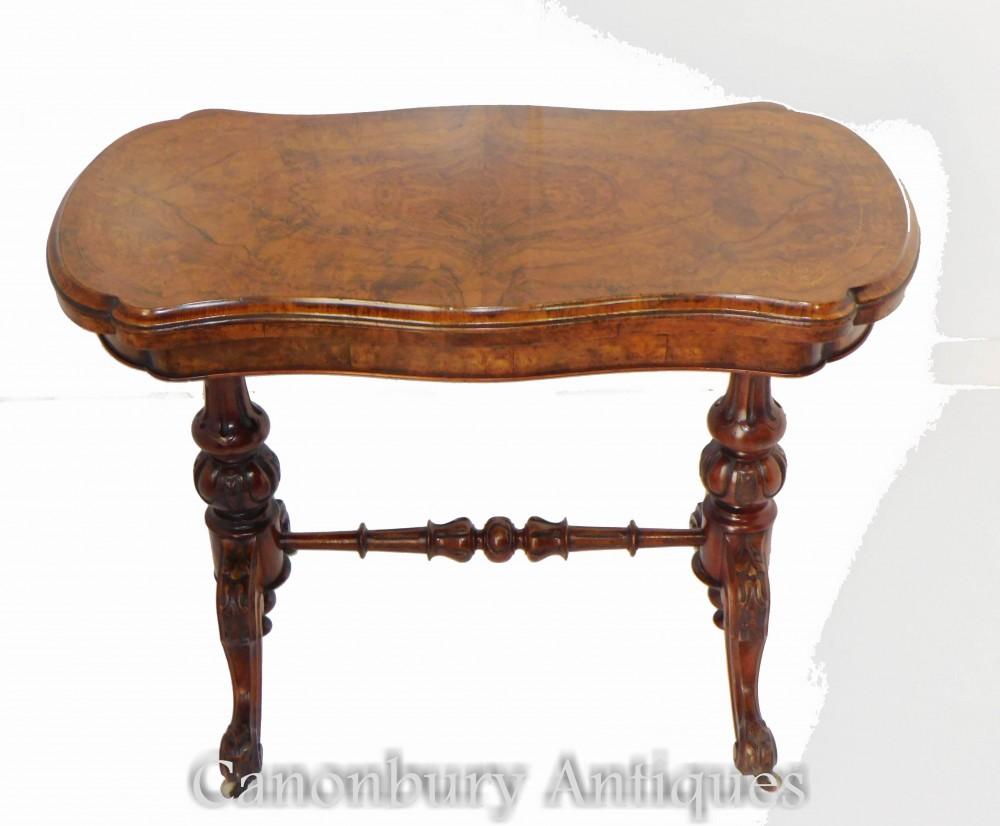 Tavolo da gioco antico - Tavoli da gioco vittoriani Noce 1880